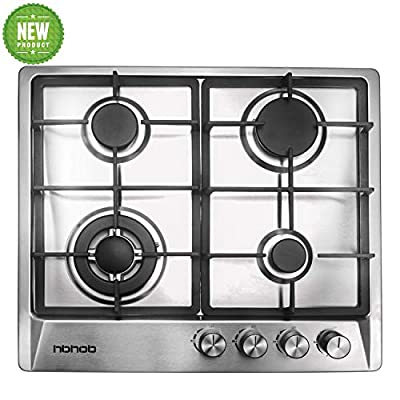 "24"" inches Stainless Gas Cooktop Built in Gas Stove 4 Burners Gas Stove Cooktop (4 Sealed Burners) Stove Burner Castiron Grate Stove-Top LPG/NG Dual Fuel Thermocouple Protection and Easy to Clean"