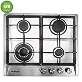 24' inches Stainless Gas Cooktop Built in Gas Stove 4 Burners Gas Stove Cooktop (4 Sealed Burners) Stove Burner Castiron Grate Stove-Top LPG/NG Dual Fuel Thermocouple Protection and Easy to Clean