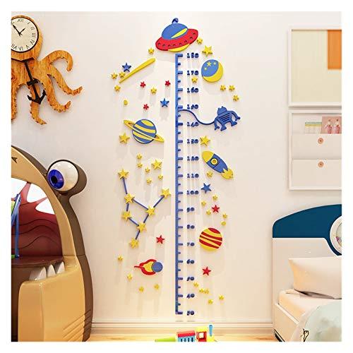 YONGYONGMY Wandsticker UFO Rakete Höhe Aufkleber 3D Stereo Aufkleber für Kinderzimmer Acryltapete Kinderhöhe Maß Wandsticker Heimdekoration (Farbe: UFO, Größe: groß)