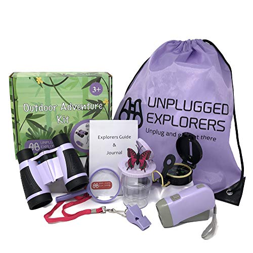 Unplugged Explorers 9 Piece Kids Outdoor Explorer Kit- Backpack, Binoculars, Flashlight, Compass, Bug Collector, Whistle, Magnifying Glass, and Journal. Boy/Girl STEM (Purple)