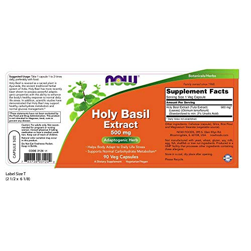 NOW Supplements, Holy Basil Extract 500 mg (Holy Basil is a Sacred Plant in Ayurveda), 90 Veg Capsules