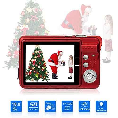 Digitalkamera, Foto Kamera Digital 2,7 Zoll 18 MP HD Mini Digitalkameras mit 8X Digitalzoom Digital Kameras Geschenk Fotokamera Digital Kompaktkameras für Kinder, Erwachsene, Anfänger(Rot)