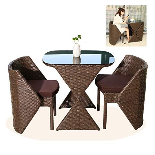 BDBT Conjuntos de ratán Muebles de jardín, Forma Creativa Clepsidra Patio Mesa y sillas Conjuntos de Cristal Mesa de Centro Superior Juego de Patio de jardín al Aire Libre Junto a la Piscina B