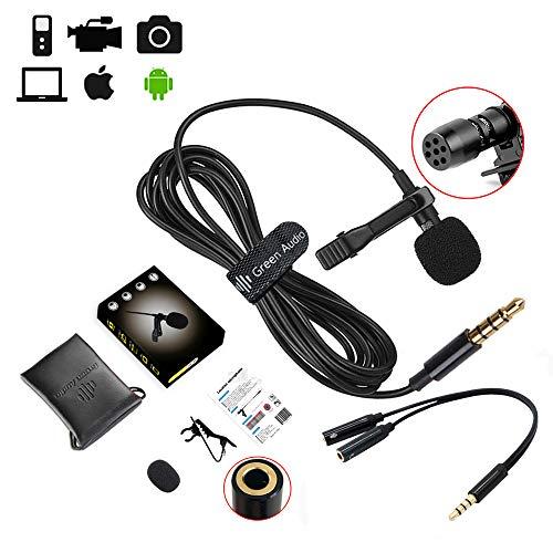 HCSM 3,5 mm Lavalier Mikrofon, Freisprecheinrichtung Ansteckmikrofon mit Kugelkondensator for Camera, Phone, PC, ipad. Mikrofone für Interview, Videokonferenz, Podcast, Diktat usw