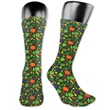 Papalikz Compression Medium Calf Socks,Simplistic Drawn Organic Healthy Food Pattern Carrot Pepper Potato Corn