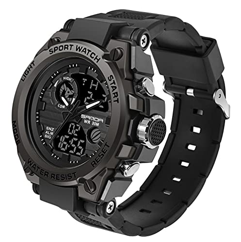 Men's Digital Outdoor Watch Tactical Military Survival Watch Sport LED Backlight Stopwatch Army Watch Waterproof Large Face Electronic Analog Watches