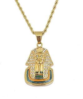 Gioielli Moca Hip-Hop Faraone egiziano Pendente Catena in acciaio con strass Collana in cristallo per uomo Donna