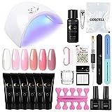 Vilamon Poly UV Gel 6pcs Gel Extensión 36w USB Lámpara Secador de Uñas Topcoat Base Coat Kit para...