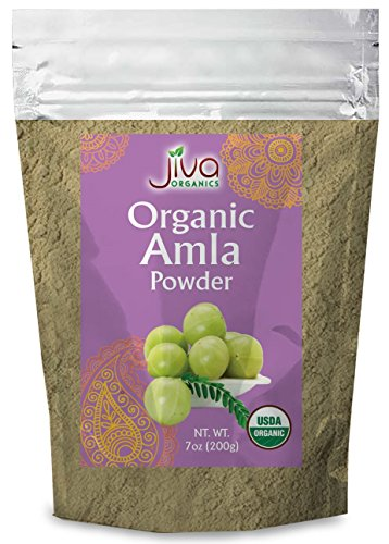 Organic Pure Amla Berry Powder, 7 Ounce -  Food Grade & Non-GMO - for Cooking & Beauty Care - Supports Hair Growth, Immunity, & Digestion - by Jiva Organics
