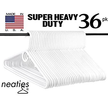 Neaties Super Heavy Duty White Plastic Hangers, USA Made Long Lasting Tubular Adult Hangers in Heavy and Super Heavy Duty, VALUE Set of 36