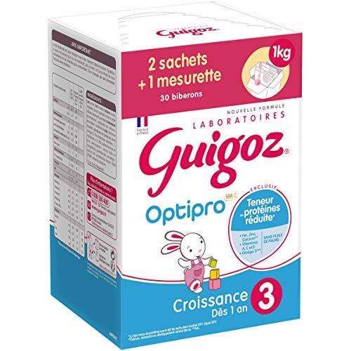 GUIGOZ 3 Croissance - Lait de croissance en poudre de 1 à 3 ans - Bag in Box de 2 sachets de 500g
