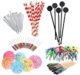 99 Piece Cocktail Party Decoration Drinks Accessory Pack with Umbrellas, Sparkle Fireworks, Stirrers and Biodegradable Straws
