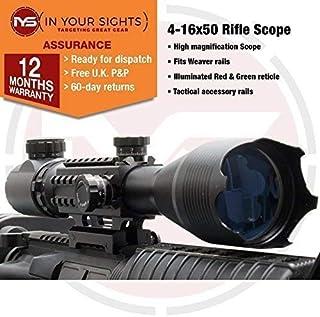 2f15d495d70 SUS MONUMENTOS 4-16x50 Alcance del rifle con Táctico Rieles para TEJEDOR  Rieles