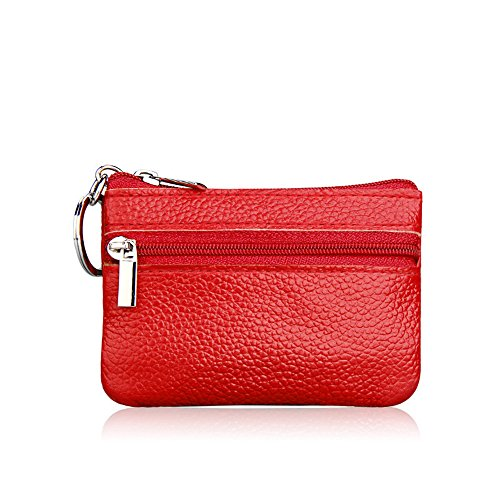 Hosaire 1x Praktisch Kleiner Geldbeutel Reißverschlusses Schlüsselpaket Portemonnaie Geldtasche Münzen Mini Münzfach Schlüsseltasche Münzen Geldbörse Rot