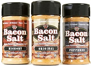 J&D Foods Bacon Salt 3-Pack - Original, Hickory, Peppered