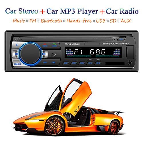 ATian Autoradio Bluetooth, Llamadas Manos Libres Radio FM Estéreo de Coche 60Wx4, Apoyo de Reproductor MP3 4 parlantes/SD/USB/MMC ID3 con Integrado EQ + Control Remoto