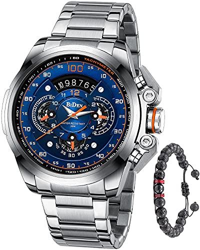 Herren Uhr Chronographen Armbanduhr Edelstahl Analog Quarz mit Edelstahl Metallarmband Großes Datum Kalender für Männer