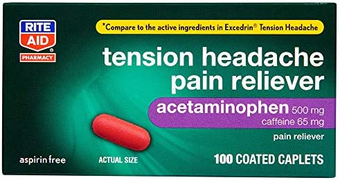 Rite Aid Tension Headache Pain Reliever Acetaminophen 500 mg 100 Coated Caplets Tension Headache product image