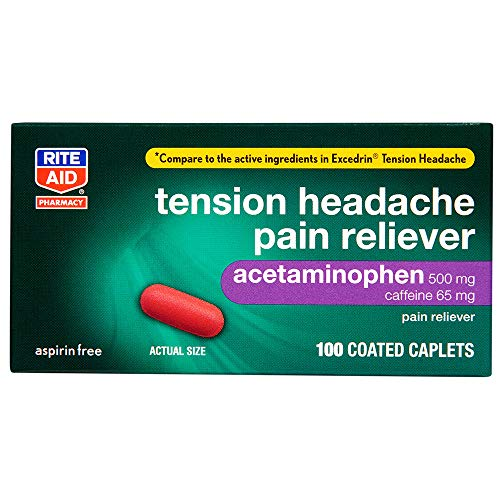 Rite Aid Tension Headache Pain Reliever, Acetaminophen, 500 mg, 100 Coated Caplets | Tension Headache Relief Aspirin Free | Pain Relief Pills Extra Strength | Migraine Relief | No Headache Pain Relief