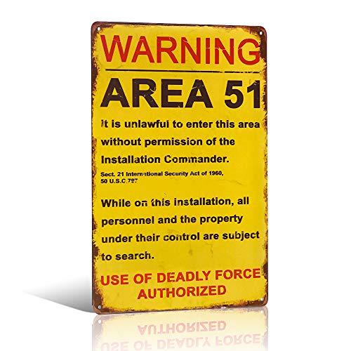"""Placa de metal para puerta de pared, estilo retro, con texto en inglés """"Area 51"""", de advertencia"""