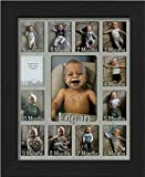 """Northland Baby First Year Personalized Frame - Holds Twelve 2.5"""" x 3.5"""" Newborn Nursery Decor Photos and 5"""" x 7"""" One Year Picture, Barnwood Black Frame, Light Gray Mat, Customizable with Any Name"""