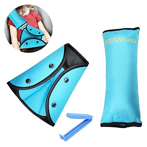 Seat Belt Pillow and Adjuster for Kids Travel,Neck Support Headrest Seatbelt Pillow Cover with Clip...