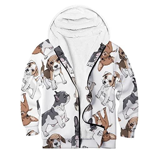 Frcavbin Unisex Fleece Hoodies Funny Cartoon Puppies French Bulldog Pug Full Zip Up Sweatshirt Casual Fashion Comfy Long Sleeve Thick Coats for Gym Outdoor Sport Fishing Camping XL