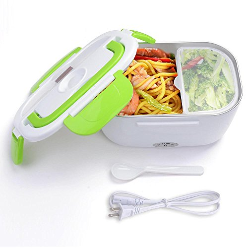 Yescom 1.5L Portable Electric Heating Lunch Box Food Storage Warmer w/Stain Steel & PP Removable Container Green