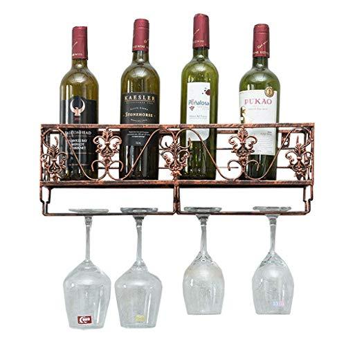 Estante para vinos Estante para vinos de Metal de Pared - Estante para vinos rústico Almacenamiento de Copas y Corcho de Corcho - Estante para Copas de Vino Colgante - Estante Éta