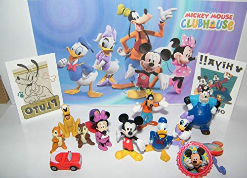 Funtime Disney Mickey Mouse Clubhouse Figure Set of 12 Toys Also with 2 Disney Tattoos and More Featuring Mickey Mouse and His Friends, Chip & Dale, Pete, Mickey's Car and More!
