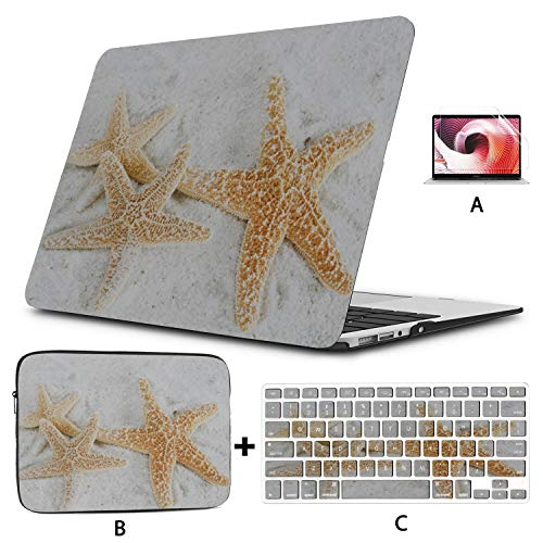 Case Macbook Pro Colorful Star Seasidee Starfish Shell Macbook Pro Cover Hard Shell Mac Air 11'/13' Pro 13'/15'/16' With Notebook Sleeve Bag For Macbook 2008-2020 Version