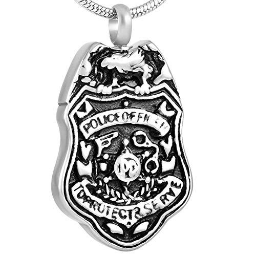 OPPJB Collares para Mujerjoyería De Cremación del Ejército De Los EE. UU. Etiqueta De Perro De Acero Grabado De Combate De La Policía Águila Calva Urna De Cenizas Colgante Conmemorativo