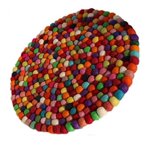 Maharanis Filz Untersetzer Topf Untersetzer GROSS bunt 40 cm handgefertigt Fairtrade aus reiner Wolle, hitzebeständig