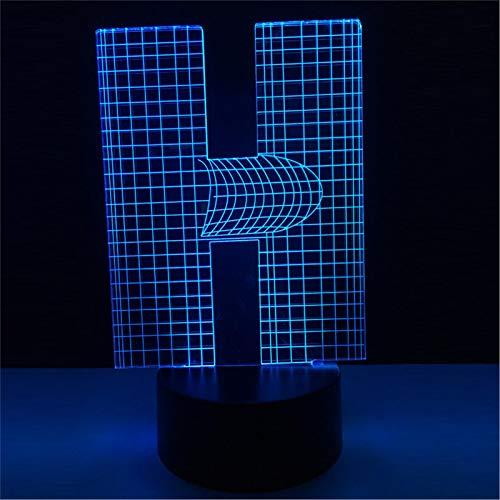 LBJZD luz de noche Novedad Lámpara 3D Alfabeto Letra H Mesa De Escritorio Multicolor Bombilla Led Usb Luz De Noche Táctil Decoración Del Hogar Estantes De Noche Para Niños Sin Mando A Distancia