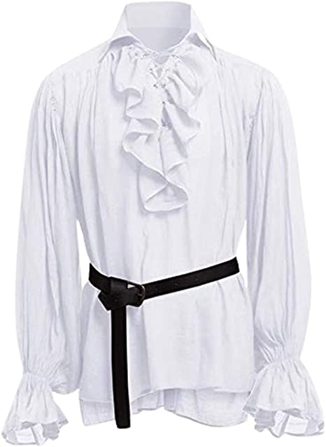 waotier Camisas Casual Hombres Vintage Medieval Camisa ...