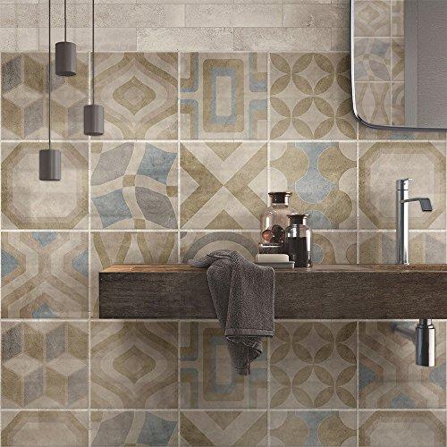 72 Piezas Azulejo Adhesivo 10x10 cm PS00172 Mosaico de Azulejos Adhesivo de Pared Adhesivo Decorativo para Azulejos de Cemento para baño y Cocina Adhesivos de Cemento pelar y Pegar