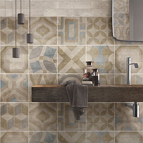 24 piezas Azulejo adhesivo 15x15 cm PS00172 Mosaico de Azulejos Adhesivo de pared Adhesivo decorativo para azulejos de cemento para baño y cocina Adhesivos de cemento pelar y pegar