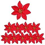 10 flores artificiales de Navidad grandes de franela, flores de pascua de Navidad, decoraciones de pascua de Navidad artificiales para árbol de flores, decoración de fiesta, guirnalda de guirnaldas