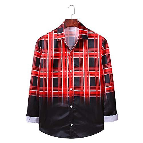 Camisa de Hombre con Estampado de Rayas a Cuadros Moda Color Degradado de un Solo Pecho Camisa Suelta de Manga Larga de Primavera y Verano X-Large