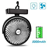 SkyGenius Camping Fan with LED Lights, 4400 mAh Rechargeable Battery/USB Operated Tent Fan