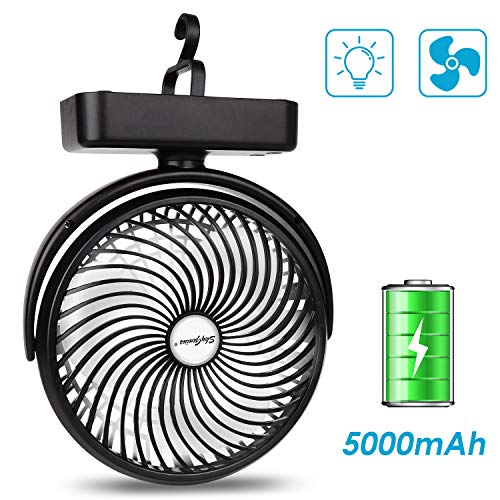 7-Inch Camping Fan with LED Lantern, 4400mAh Rechargeable Battery/USB Operated Fan with Hanging Hook for Tent Car RV