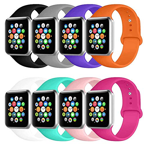 BOTOMALL Compatible with Iwatch Band 38mm 40mm 42mm 44mm Classic Silicone Sport Replacement Strap Bracelet for Iwatch All Models Series 4 Series 3 Series 2 1 (Colorful 8Pack,42/44mm M/L)