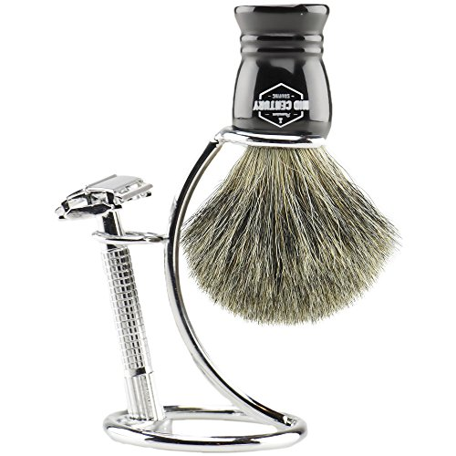 Safety Razor Shaving Kit: Double Edge Razor, Pure Badger Brush, Heavy Chrome Stand with Travel Case; Complete Wet Shave Gift Set (Ivory)