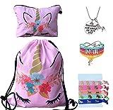 Unicorn Gifts for Girls - Unicorn Drawstring Backpack/Makeup Bag/Bracelet/Inspirational...