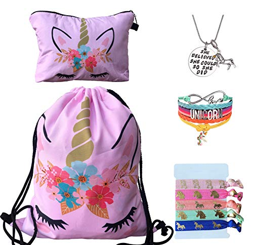 Unicorn Gifts for Girls - Unicorn Drawstring Backpack/Makeup Bag/Bracelet/Inspirational Necklace/Hair Ties (Pink Flower)