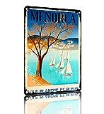 SAODOMA Cartel retro de Menorca de ILand España vintage divertido para decoración de pared de casa, jardín, oficina, bar, club, hombre, cueva, 30 x 20 cm
