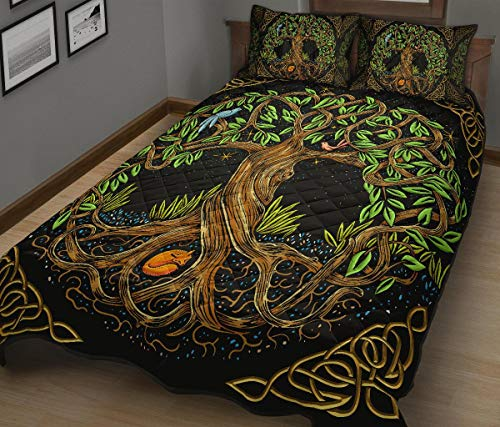 Celtic Quilt Bed Set Celtic Tree of Life Bedding Set 3 Pieces Quilt Cover with Pillowcase Cover Soft Comfortable for Kids Parents US Twin Queen King Size
