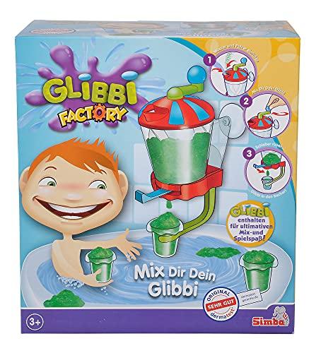 Simba 105953182 - Glibbi Factory, Badewannenspielzeug, Pulver verwandelt Wasser in Glibber, zum kurbeln, in Becher abfüllen, Badespaß, mit Messlöffel, 2 x 40 g, ab 3 Jahren