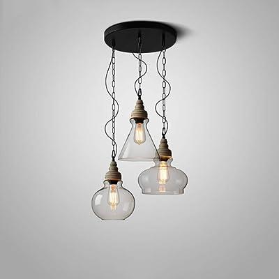 Retro Colgante Lámpara Industrial Lámpara De Cocina Comedor Candelabros Altura Ajustable Iluminación Colgante Madera Vintage Negro