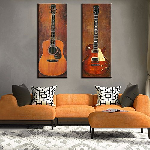 Guitar Photo Wall Decoration Music Art Image Printed on Canvas Stretched and Framed Ready to Hang for Living Room Bedroom Home Decoration